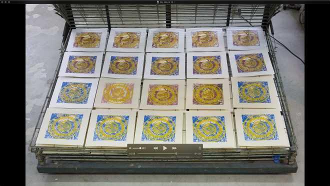 Pitch-Art #34 - Au travail : sérigraphier les images de la série Shakti-Yoni: Ecstatic Cosmic Dances