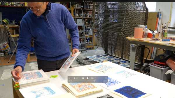 "Video, Jean-Pierre Sergent, The artist silk-screening the ""Shakti-Yoni: Ecstatic Cosmic Dances"" Series #10"