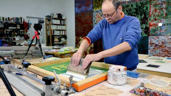 Video-Portrait of the artist Jean-Pierre Sergent screen-printing the Shakti-Yoni: Ecstatic Cosmic Dances series #76