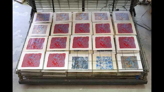 Pitch-Art #05 - Au travail : sérigraphier les images de la série Shakti-Yoni: Ecstatic Cosmic Dances