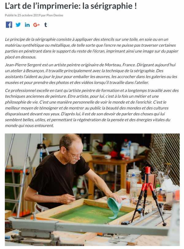NOUVEL ARTICLE AU SUJET DE LA SÉRIGRAPHIE POUR PRONTOPRO : L'art de l'imprimerie : la sérigraphie par Jean-Pierre sergent. Par Denise Pion.