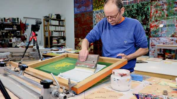 Video-Portrait of the artist Jean-Pierre Sergent screen-printing the Shakti-Yoni: Ecstatic Cosmic Dances series #72