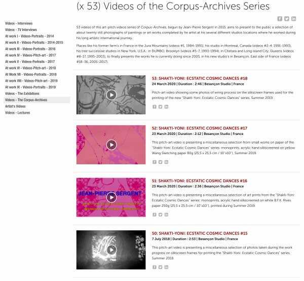 Jean-Pierre Sergent, Vidéos-Corpus-Archives - (x 53) Corpus-Archives - 1984 - present