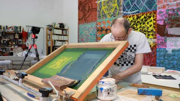 Portrait of the artist Jean-Pierre Sergent silkscreening his Shakti-Yoni: Ecstatic Cosmic Dances Series #59 | 08.14.2019