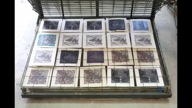 Pitch-Art #15 - Au travail : sérigraphier les images de la série Shakti-Yoni: Ecstatic Cosmic Dances