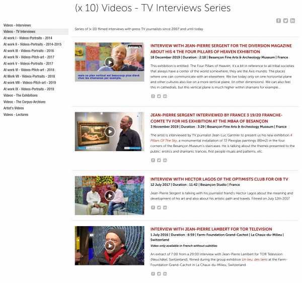 Jean-Pierre Sergent, Videos - TV-Interviews - (x 10) Artist Interviews with press TV | 2007 - present