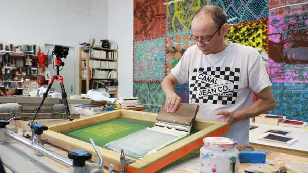 Jean-Pierre Sergent, Portrait of the artist silkscreening his Shakti-Yoni: Ecstatic Cosmic Dances Series #62 | 08.28.2019