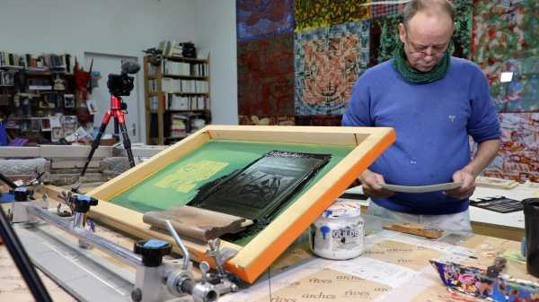 Video-Portrait of the artist Jean-Pierre Sergent screen-printing the Shakti-Yoni: Ecstatic Cosmic Dances series #77