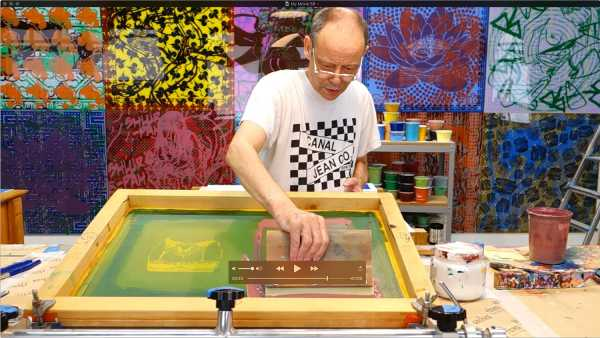 "Jean-Pierre Sergent silk-screening the ""Shakti-Yoni: Ecstatic Cosmic Dances"" Series #7"