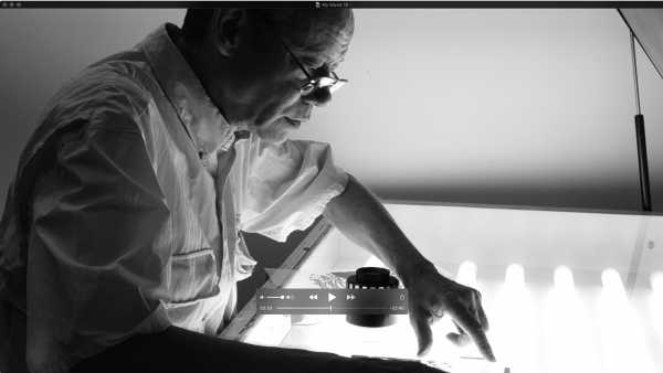 Jean-Pierre Sergent, Portrait of the artist screen-printing the 'Shakti-Yoni: Ecstatic Cosmic Dances' Series #23