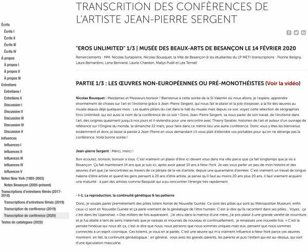 Transcript of the lecture by Jean-Pierre Sergent, Eros Unlimited, Besançon Fine Arts & Archeology Museum, France
