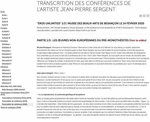 Transcript of the lecture by Jean-Pierre Sergent, Eros Unlimited, Besançon Fine Arts & Archeology Museum, France