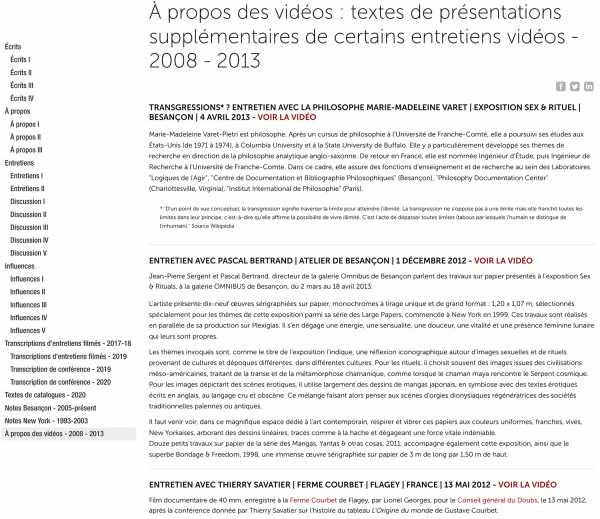 Jean-Pierre Sergent, About the videos: texts of additional presentations of some video interviews - 2008 - 2013