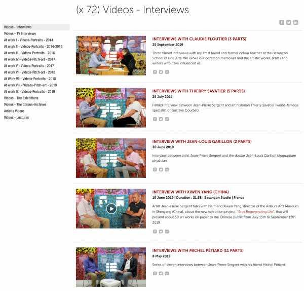 Jean-Pierre Sergent, Series of 25 filmed interviews with the artist Jean-Pierre Sergent | 2002 - present