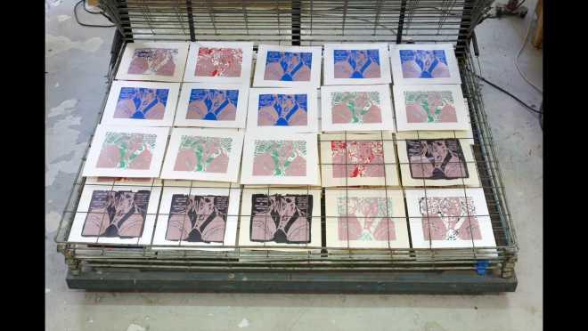 Pitch-Art #18 - Au travail : sérigraphier les images de la série Shakti-Yoni: Ecstatic Cosmic Dances