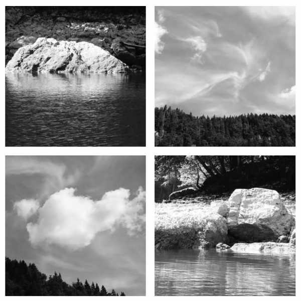 Jean-Pierre Sergent, 'Water, Rocks, Trees & Skies' #5, photos from canoe trips over the Doubs River