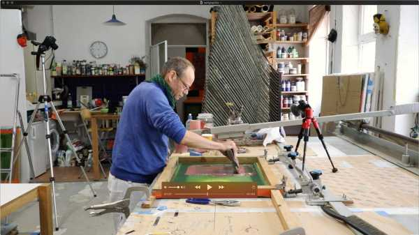 Jean-Pierre Sergent, Portrait of the artist screen-printing the 'Shakti-Yoni: Ecstatic Cosmic Dances' Series #48