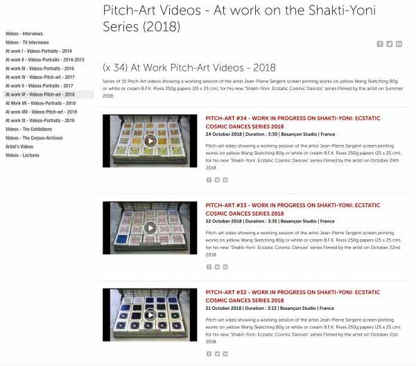 Jean-Pierre Sergent, At Work VI - (x 34) Pitch-Arts Videos - At work on the Shakti-Yoni Series (2018)