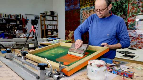 Video-Portrait of the artist Jean-Piere Sergent screen-printing the Shakti-Yoni: Ecstatic Cosmic Dances series #81