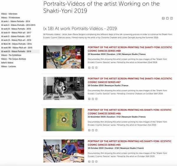 Jean-Pierre sergent - At Work IX - (x 18) Portrait-Videos - At work on the Shakti-Yoni Series - 2019