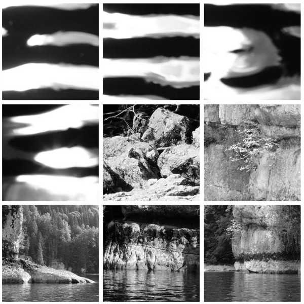 "Jean-Pierre Sergent, ""Water, Rocks, Trees & Skies"" #3, photos from canoe trips over the Doubs River"