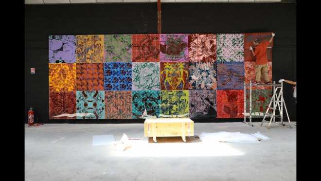 Installation de l'œuvre Mécaniques cosmiques de la jouissance | 8.40 x 3.15 m @ Exposition Voluptés