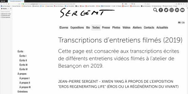 Jean-Pierre Sergent, FILMS INTERVIEWS WRITTEN TRANSCRIPTIONS | 2019