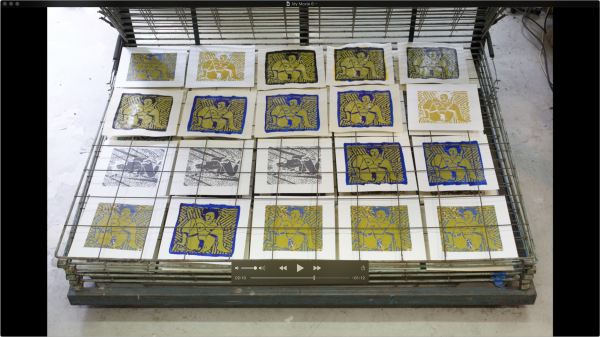 Jean-Pierre Sergent, AT WORK SILK-SCREENING THE IMAGES #56