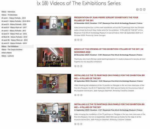 Jean-Pierre Sergent, Videos-Exhibition - (18) Videos presenting the artist's exhibitions from 2014 - present