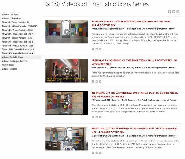 Jean-Pierre Sergent, Videos-Exhibition - (18) Videos presenting the artist's exhibitions from 2014 - present