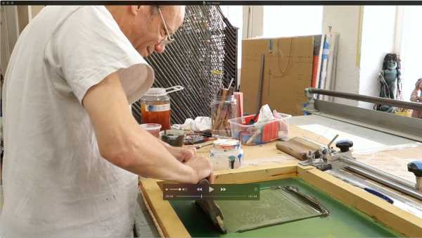 JeanPierre sergent, The artist screen-printing the 'Shakti-Yoni: Ecstatic Cosmic Dances' Series #16