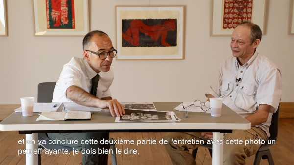 Interview of artist Jean-Pierre Sergent with Nicolas Surlapierre, director of MBAA, Besançon - 2/4