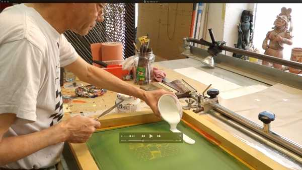 "Jean-Pierre Sergent, silk-screening the ""Shakti-Yoni: Ecstatic Cosmic Dances"" Series #5"