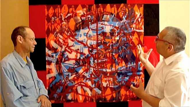 2/4 : Discussion devant la peinture Mayan Diary 17