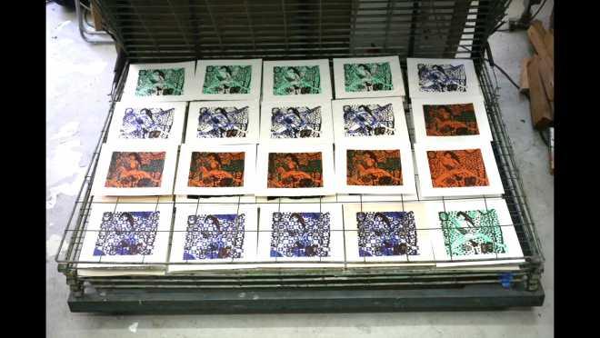 Pitch-Art #01 - Au travail : sérigraphier les images de la série Shakti-Yoni: Ecstatic Cosmic Dances