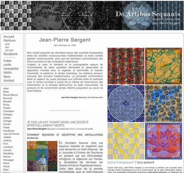 Jean-Pierre Sergent dans De Artibus Sequanis, dictionnaire et évènement des Arts en Franche-Comté par Rémi Lombardot