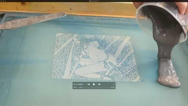 Jean-Pierre sergent, Portrait of the artist screen-printing the 'Shakti-Yoni: Ecstatic Cosmic Dances' Series #24