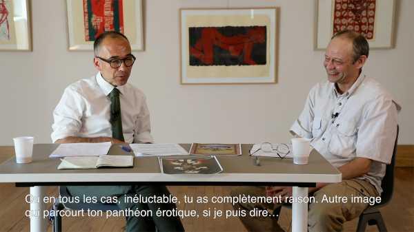Interview of artist Jean-Pierre Sergent with Nicolas Surlapierre, director of MBAA, Besançon - 3/4