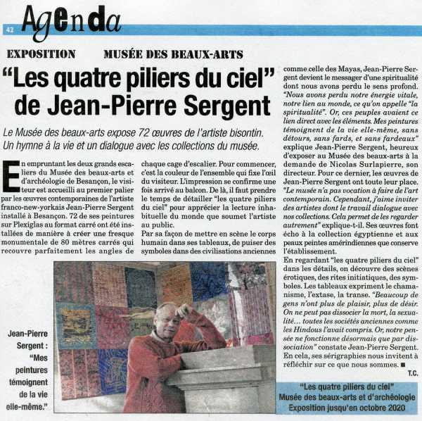 """EXPOSITION AU MUSÉE DES BEAUX-ARTS """"Les quatre piliers du ciel"""" de Jean-Pierre Sergent par Thomas Comte"""