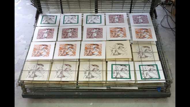Pitch-Art #10 - Au travail : sérigraphier les images de la série Shakti-Yoni: Ecstatic Cosmic Dances