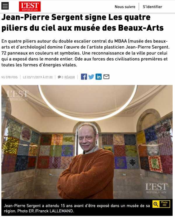 Jean-Pierre Sergent signe les quatre piliers du ciel, article de Catherine Chaillet pour l'Est Républicain
