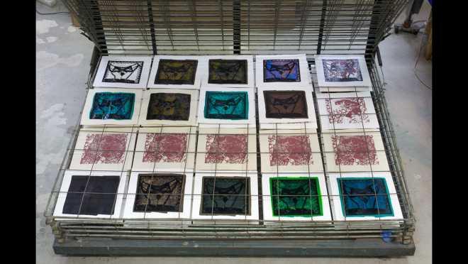 Pitch-Art #16 - Au travail : sérigraphier les images de la série Shakti-Yoni: Ecstatic Cosmic Dances