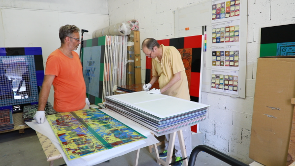Jean-Pierre Sergent PACKING UP 72 PAINTINGS FOR THE EXHIBITION: '4 PILLARS OF HEAVEN' AT MBAA OF BESANÇON 8.28.2019