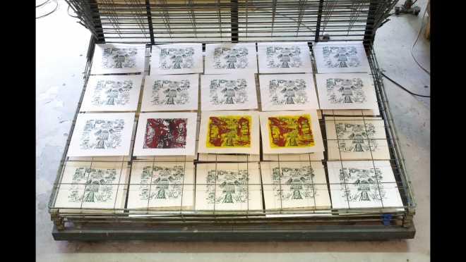 Pitch-Art #30 - Au travail : sérigraphier les images de la série Shakti-Yoni: Ecstatic Cosmic Dances