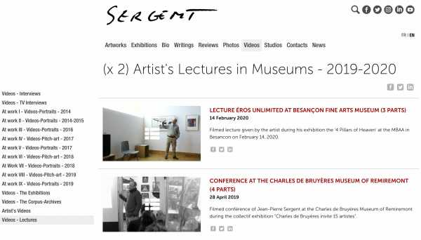 Jean-Pierre Sergent, Videos-Conferences (x 2) Artist talks given in museums - 2019 - 2020