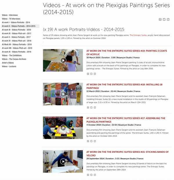 Jean-Pierre Sergent, (x 19) A work Portraits-Vidéos on the Plexiglas Paintings Series (2014-2015)