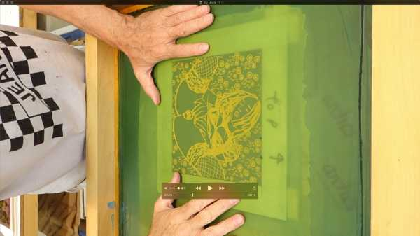 Jean-Pierre sergent, Portrait of the artist screen-printing the 'Shakti-Yoni: Ecstatic Cosmic Dances' Series #30