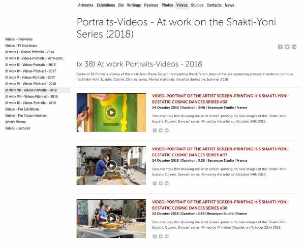 Jean-Pierre Sergent, At Work VII - (x 38) Portrait-Videos - At work on the Shakti-Yoni Series (2018)