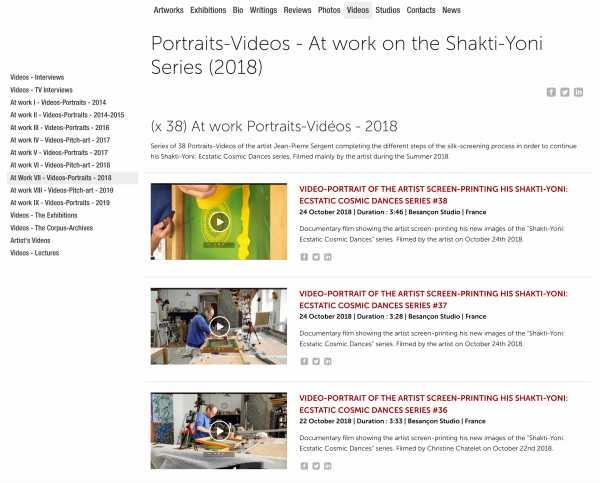 Jean-Pierre Sergent, At Work VII - (x 38) Portrait-Videos - At work on the Shakti-Yoni Series (2018)