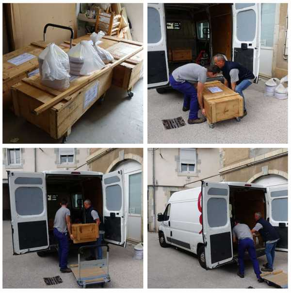 Jean-Pierre sergent, THE MUSEUM TECHNICIANS ARE PICKING UP THE 4 CRATES FOR THE EXHIBITION > 4 PILLARS OF THE SKY